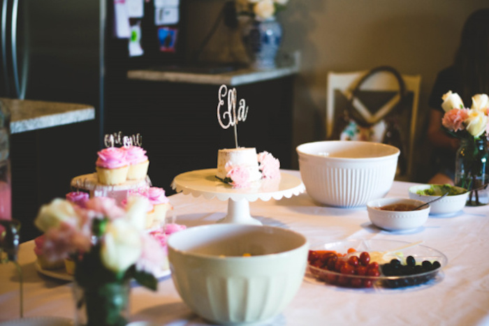 Cake + Food Table from a Floral First Birthday Party on Kara's Party Ideas | KarasPartyIdeas.com (14)