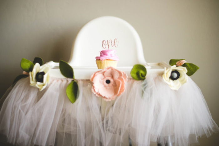 Felt Flower + Tulle Highchair Banner from a Floral First Birthday Party on Kara's Party Ideas | KarasPartyIdeas.com (12)