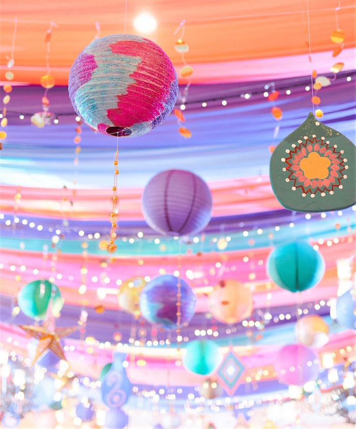 Bollywood Paper Lantern Ceiling from a Glamorous Bollywood Birthday Party on Kara's Party Ideas | KarasPartyIdeas.com (4)