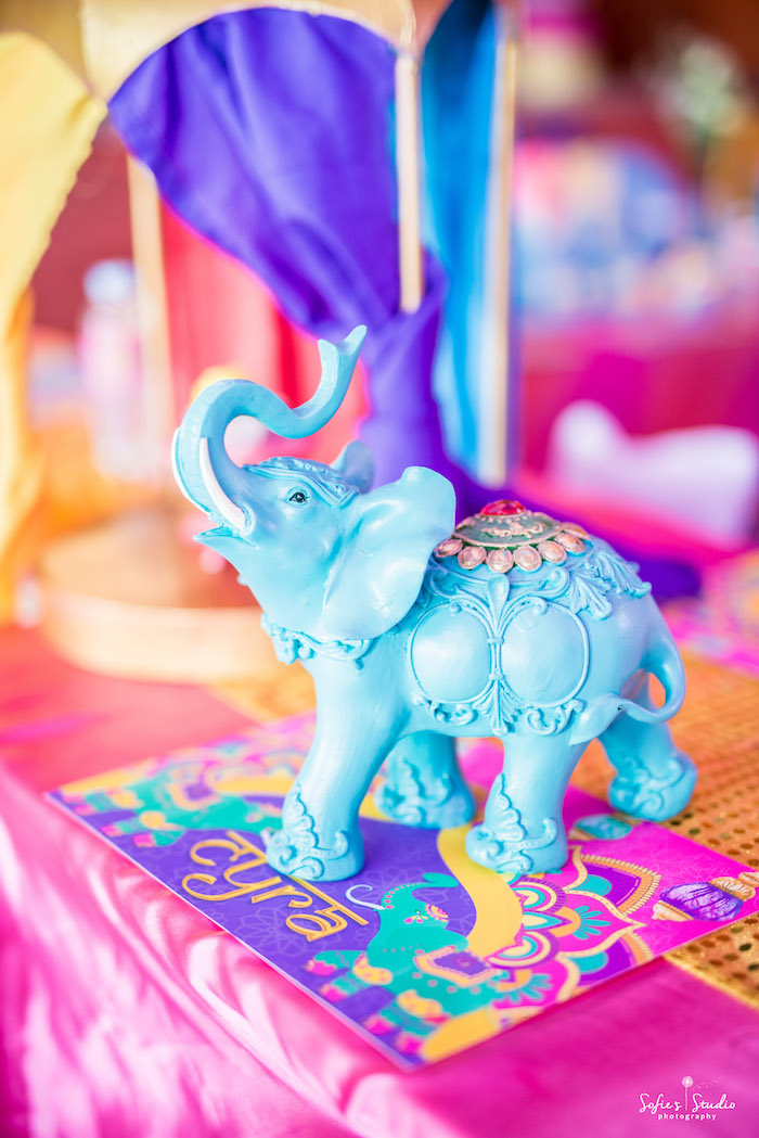 Bollywood Elephant Centerpiece + Place Mat from a Glamorous Bollywood Birthday Party on Kara's Party Ideas | KarasPartyIdeas.com (24)