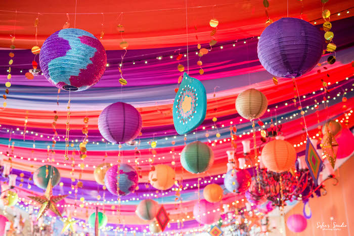 Bollywood-inspired Ceiling from a Glamorous Bollywood Birthday Party on Kara's Party Ideas | KarasPartyIdeas.com (23)