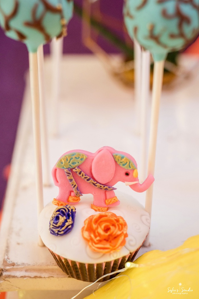 Bollywood Elephant Cupcake from a Glamorous Bollywood Birthday Party on Kara's Party Ideas | KarasPartyIdeas.com (22)