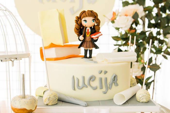 Hermoine Cake from a Hermoine + Harry Potter Birthday Party on Kara's Party Ideas | KarasPartyIdeas.com (3)