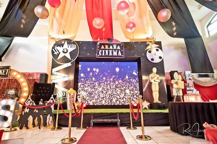 Cinema Stage from a Hollywood Movie Birthday Party on Kara's Party Ideas | KarasPartyIdeas.com (13)