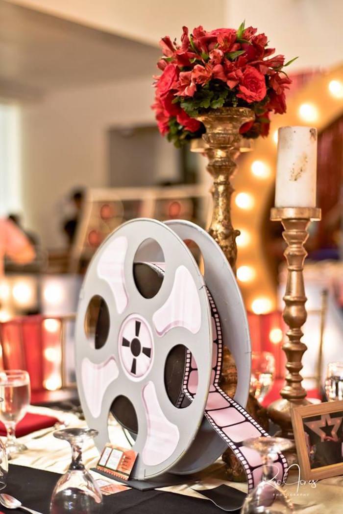 Film Reel Table Centerpiece from a Hollywood Movie Birthday Party on Kara's Party Ideas | KarasPartyIdeas.com (12)
