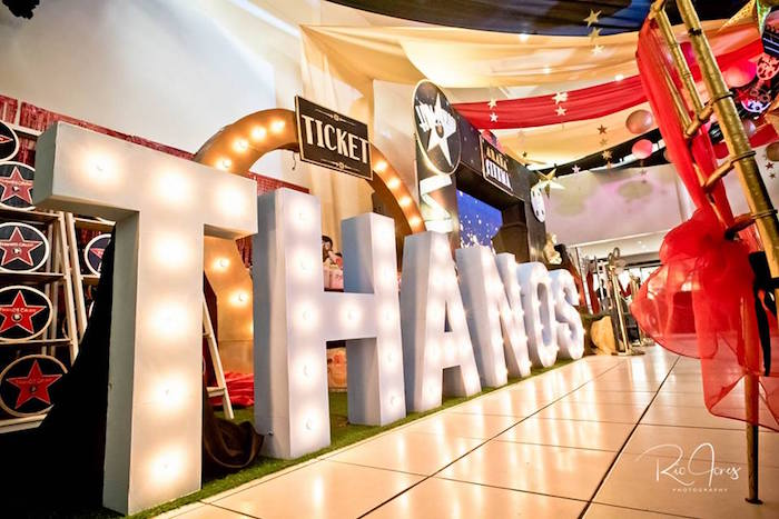 Giant Marquee Letter Sign from a Hollywood Movie Birthday Party on Kara's Party Ideas | KarasPartyIdeas.com (5)