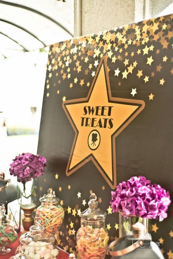 Hollywood Star Sweet Table + Backdrop from a Hollywood Movie Birthday Party on Kara's Party Ideas | KarasPartyIdeas.com (22)