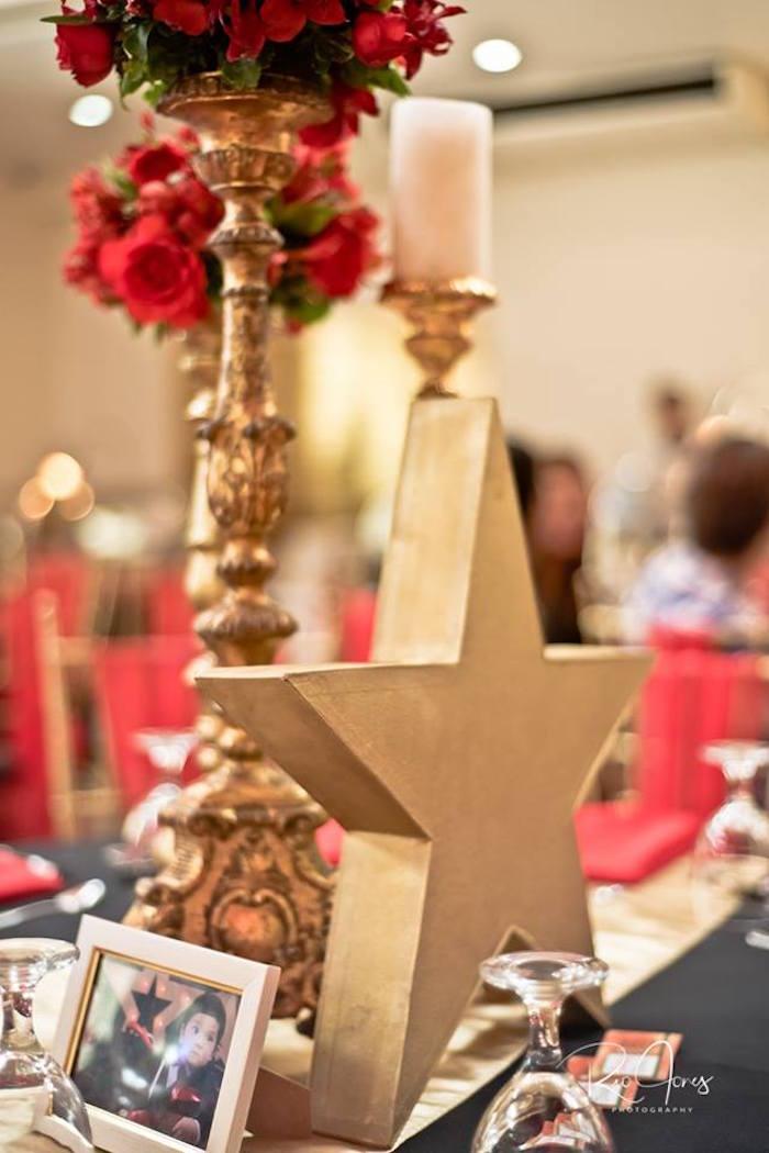 Glam Star Table Centerpiece from a Hollywood Movie Birthday Party on Kara's Party Ideas | KarasPartyIdeas.com (21)