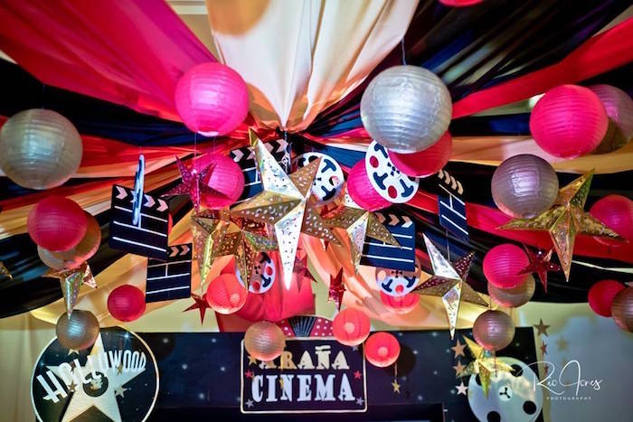 Hollywood Themed Ceiling Bunting from a Hollywood Movie Birthday Party on Kara's Party Ideas | KarasPartyIdeas.com (16)