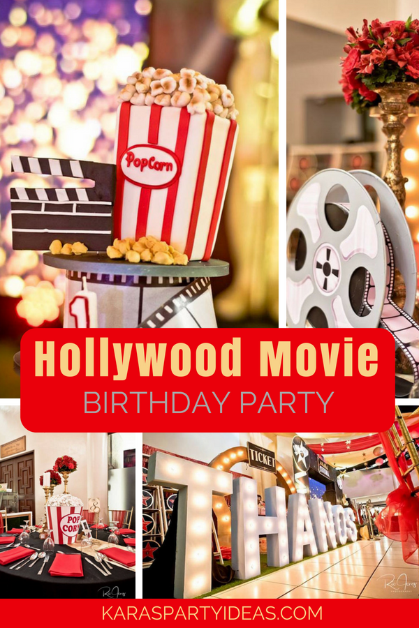 Hollywood Movie Birthday Party via KarasPartyIdeas - KarasPartyIdeas.com