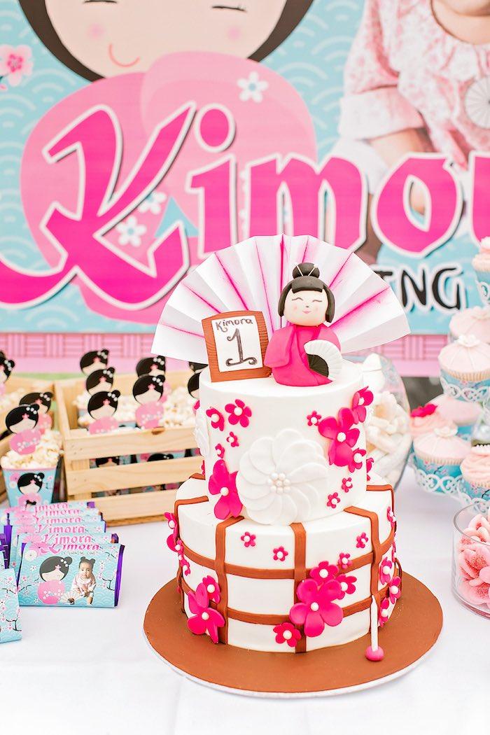 Japanese Cherry Blossom Cake from a Japanese Garden Picnic Party on Kara's Party Ideas   KarasPartyIdeas.com (18)