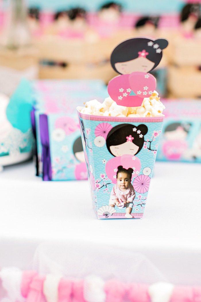Popcorn Box from a Japanese Garden Picnic Party on Kara's Party Ideas   KarasPartyIdeas.com (8)