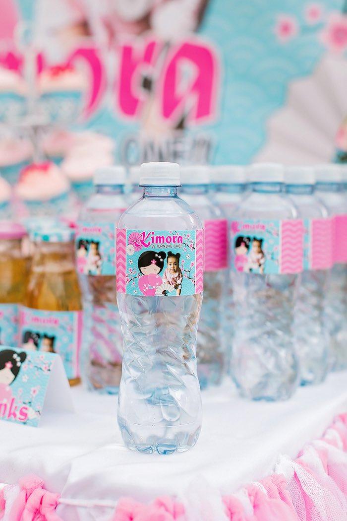Water Bottles from a Japanese Garden Picnic Party on Kara's Party Ideas   KarasPartyIdeas.com (26)