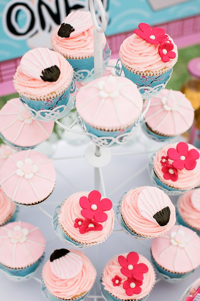 Japanese-inspired Cupcakes from a Japanese Garden Picnic Party on Kara's Party Ideas   KarasPartyIdeas.com (25)