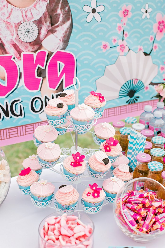 Japanese-inspired Cupcakes from a Japanese Garden Picnic Party on Kara's Party Ideas   KarasPartyIdeas.com (24)