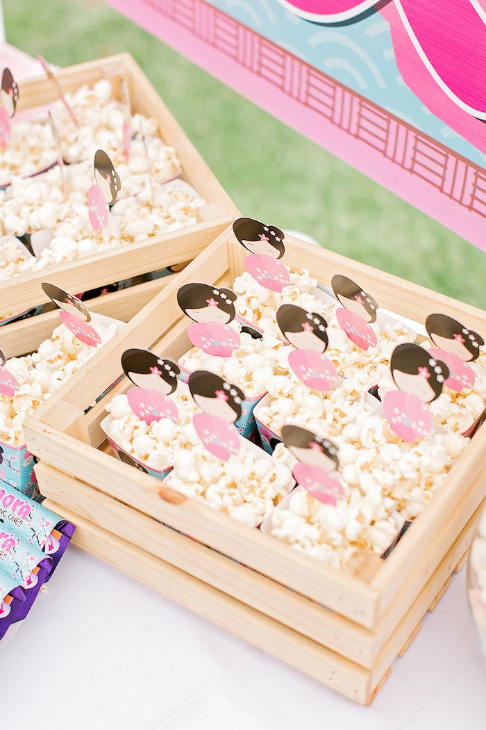 Wood Crated Popcorn Boxes from a Japanese Garden Picnic Party on Kara's Party Ideas   KarasPartyIdeas.com (22)