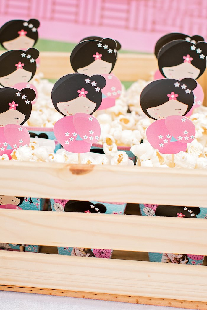 Customized Popcorn Boxes from a Japanese Garden Picnic Party on Kara's Party Ideas   KarasPartyIdeas.com (21)