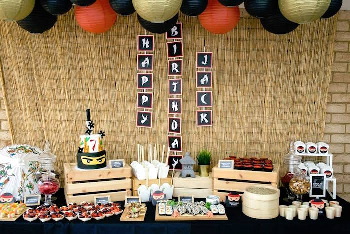 Japanese Party Table from a Japanese Ninja Warrior Birthday Party on Kara's Party Ideas | KarasPartyIdeas.com (25)