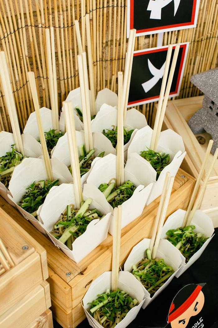 Noodle Boxes from a Japanese Ninja Warrior Birthday Party on Kara's Party Ideas | KarasPartyIdeas.com (22)
