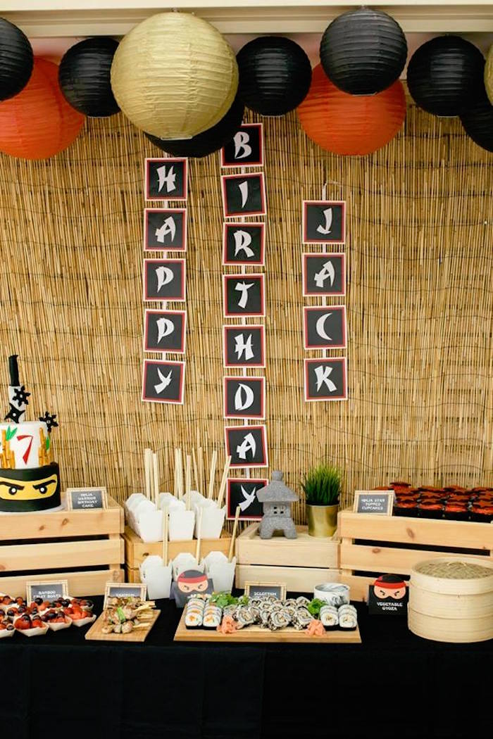 Ninja Party Table from a Japanese Ninja Warrior Birthday Party on Kara's Party Ideas | KarasPartyIdeas.com (21)