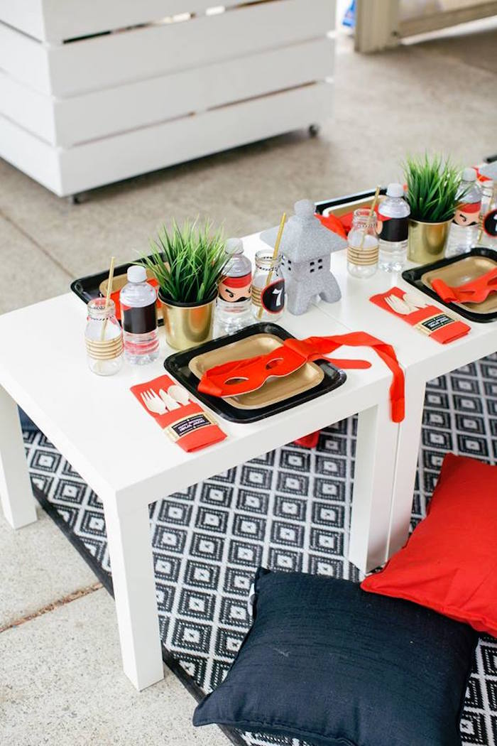 Ninja Table Setting from a Japanese Ninja Warrior Birthday Party on Kara's Party Ideas | KarasPartyIdeas.com (18)