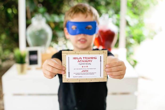 Ninja Training Academy Certificate from a Japanese Ninja Warrior Birthday Party on Kara's Party Ideas   KarasPartyIdeas.com (17)
