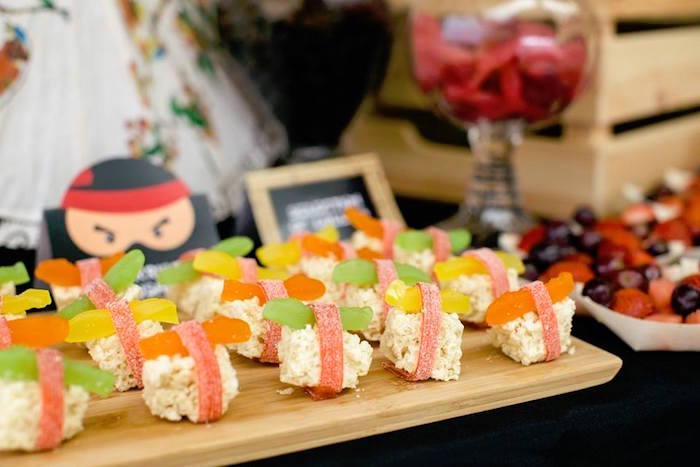 Rice Krispie Sushi from a Japanese Ninja Warrior Birthday Party on Kara's Party Ideas | KarasPartyIdeas.com (14)