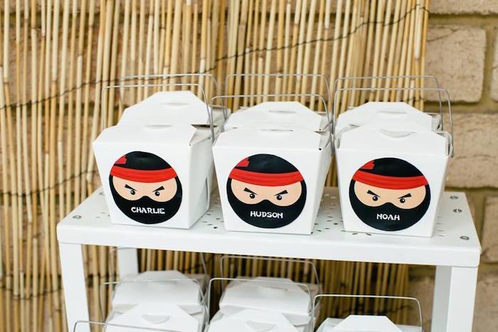 Personalized Ninja Favor Boxes from a Japanese Ninja Warrior Birthday Party on Kara's Party Ideas   KarasPartyIdeas.com (13)