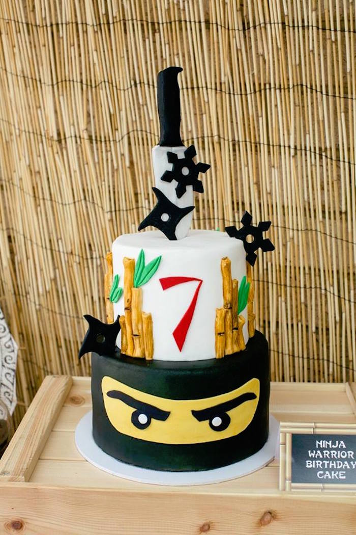 Ninja Cake from a Japanese Ninja Warrior Birthday Party on Kara's Party Ideas | KarasPartyIdeas.com (12)