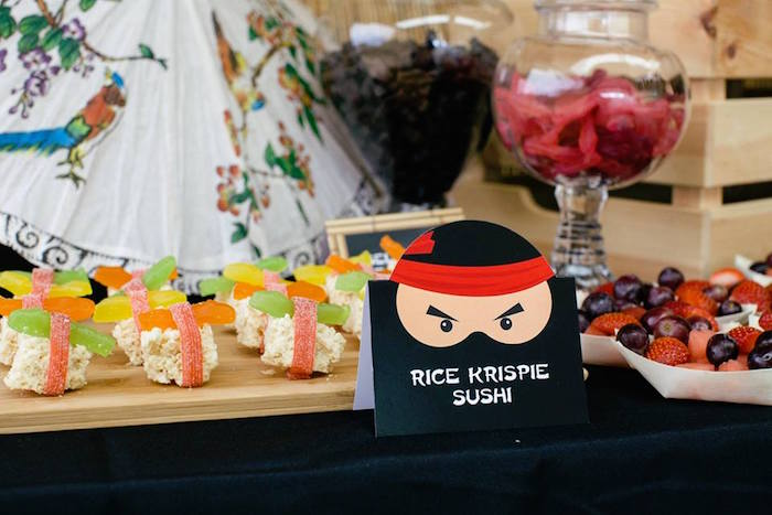 Rice Krispie Sushi from a Japanese Ninja Warrior Birthday Party on Kara's Party Ideas | KarasPartyIdeas.com (11)