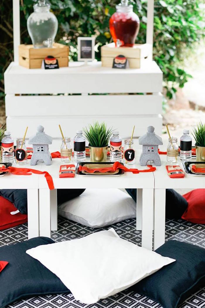 Ninja Themed Guest Table from a Japanese Ninja Warrior Birthday Party on Kara's Party Ideas | KarasPartyIdeas.com (9)