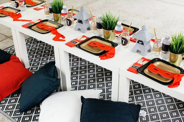Ninja Themed Guest Table from a Japanese Ninja Warrior Birthday Party on Kara's Party Ideas | KarasPartyIdeas.com (5)