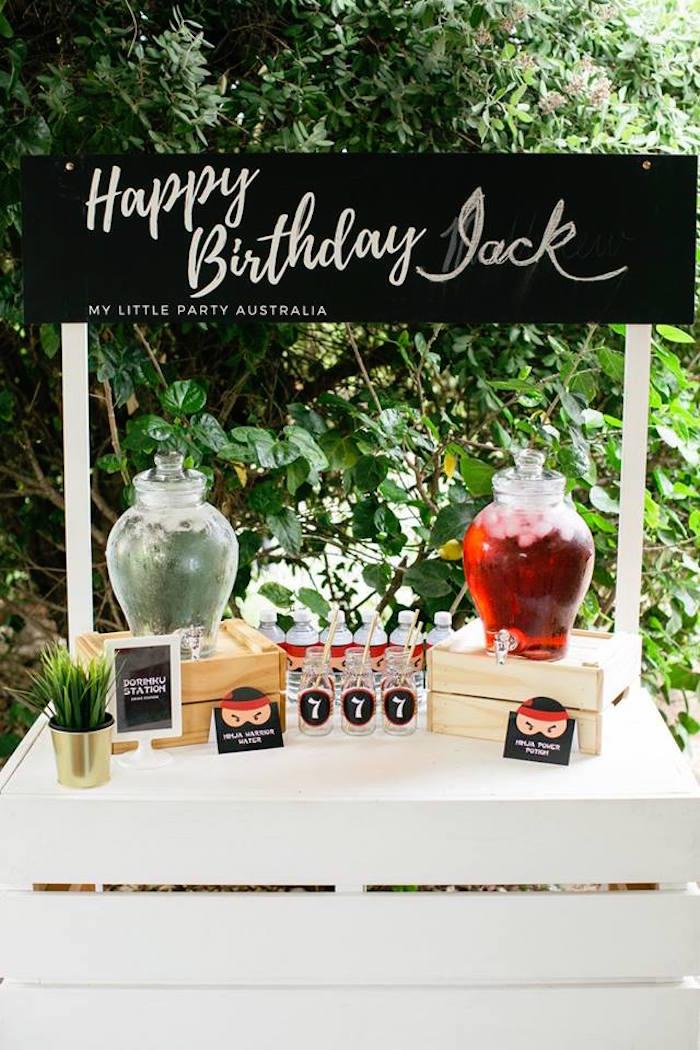 Beverage Bar from a Japanese Ninja Warrior Birthday Party on Kara's Party Ideas   KarasPartyIdeas.com (32)