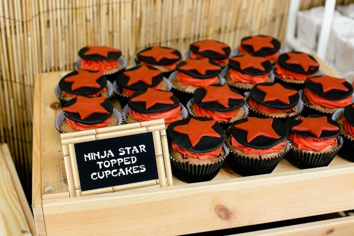 Ninja Star Topped Cupcakes from a Japanese Ninja Warrior Birthday Party on Kara's Party Ideas | KarasPartyIdeas.com (31)