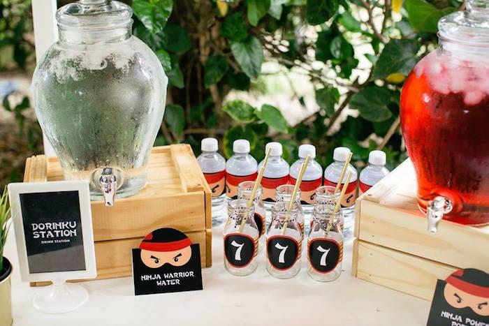Beverage Table from a Japanese Ninja Warrior Birthday Party on Kara's Party Ideas   KarasPartyIdeas.com (30)