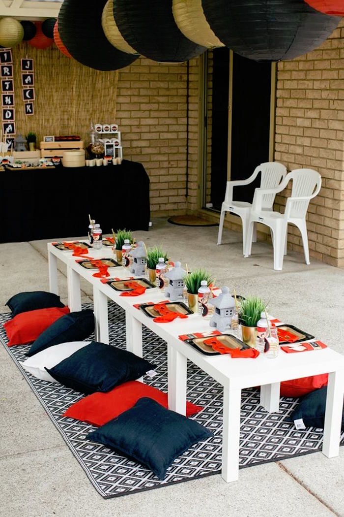 Guest Table from a Japanese Ninja Warrior Birthday Party on Kara's Party Ideas | KarasPartyIdeas.com (27)