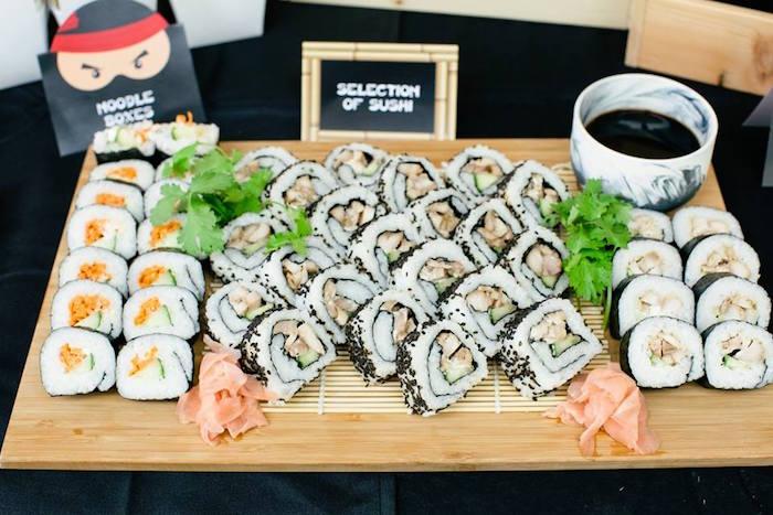 Sushi Plate from a Japanese Ninja Warrior Birthday Party on Kara's Party Ideas   KarasPartyIdeas.com (26)