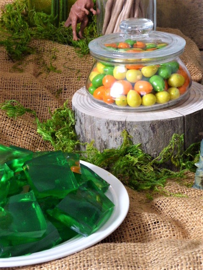 Jello & Egg Gum from a Rustic Dinosaur Birthday Party on Kara's Party Ideas | KarasPartyIdeas.com