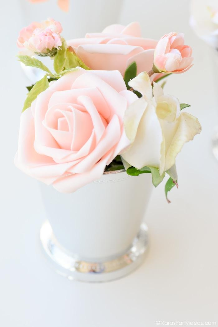 Kentucky Derby Viewing Party Floral Arrangement in Mint Julep cup by Kara's Party Ideas | KarasPartyIdeas.com Kara Allen