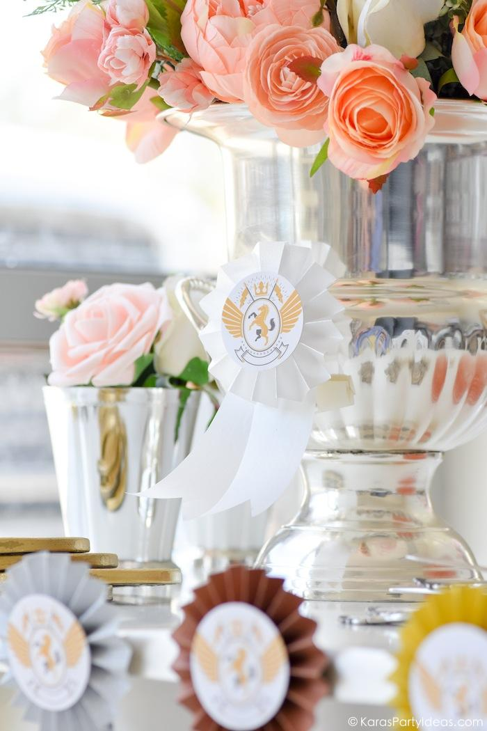Kentucky Derby Viewing Party Floral Arrangement DIY rosette award ribbon by Kara's Party Ideas | KarasPartyIdeas.com Kara Allen