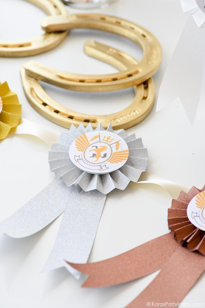Kentucky Derby Viewing Party DIY rosette award ribbon banner by Kara's Party Ideas | KarasPartyIdeas.com Kara Allen