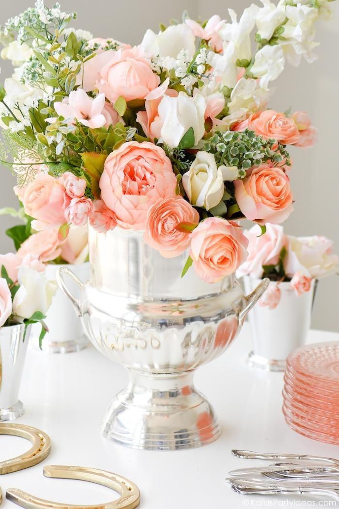 Kentucky Derby Viewing Party Floral Arrangement by Kara's Party Ideas | KarasPartyIdeas.com Kara Allen
