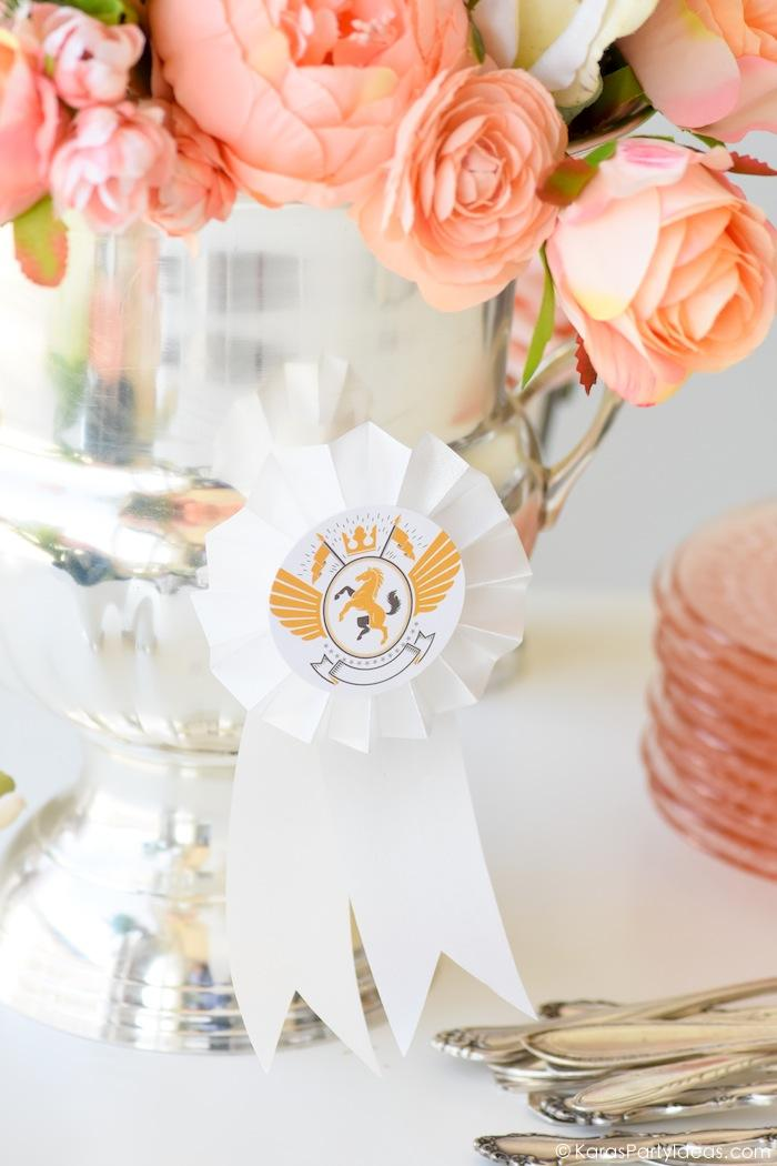 Kentucky Derby Viewing Party Floral Arrangement rosette award ribbon by Kara's Party Ideas | KarasPartyIdeas.com Kara Allen