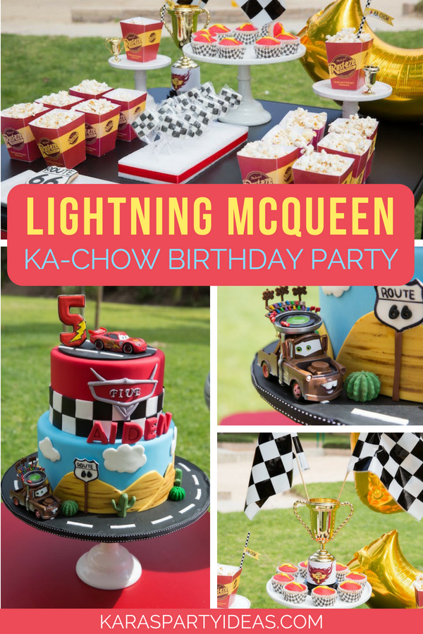 Stupendous Karas Party Ideas Lightning Mcqueen Ka Chow Birthday Party Personalised Birthday Cards Cominlily Jamesorg
