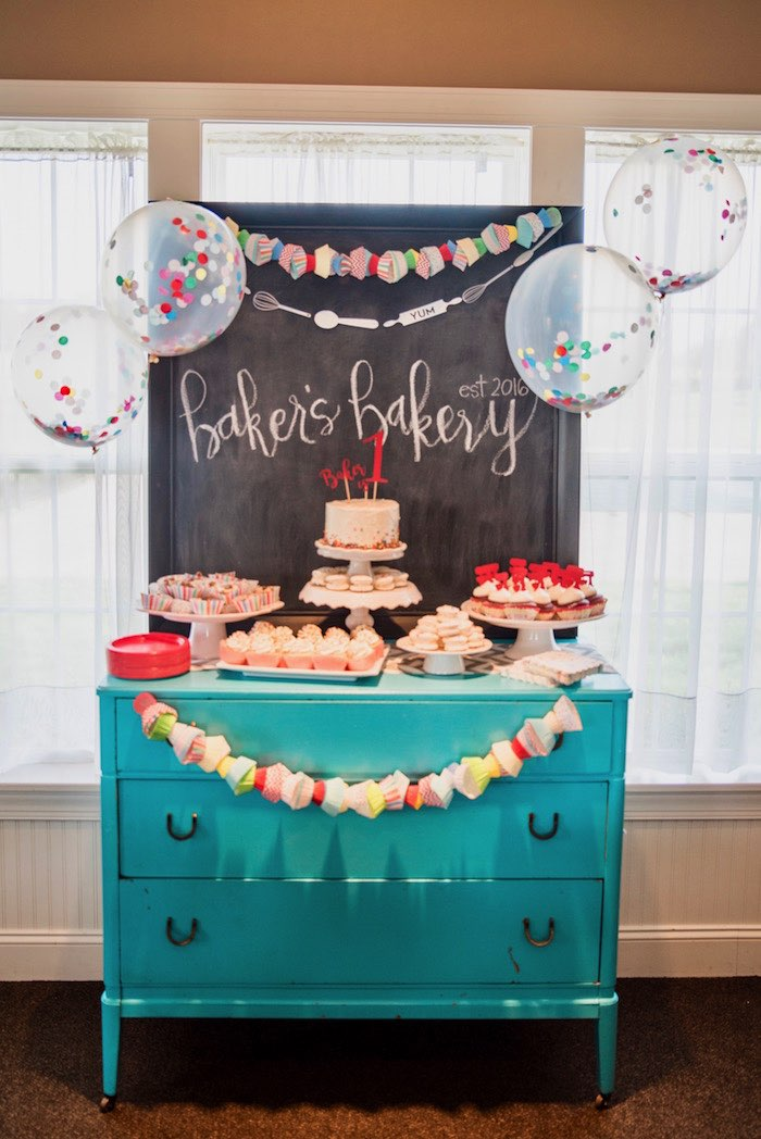 Baker's Dessert Table from a Little Baker Birthday Party on Kara's Party Ideas | KarasPartyIdeas.com (7)