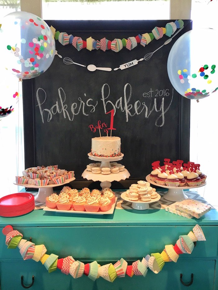 Bakery Dessert Table from a Little Baker Birthday Party on Kara's Party Ideas | KarasPartyIdeas.com (21)