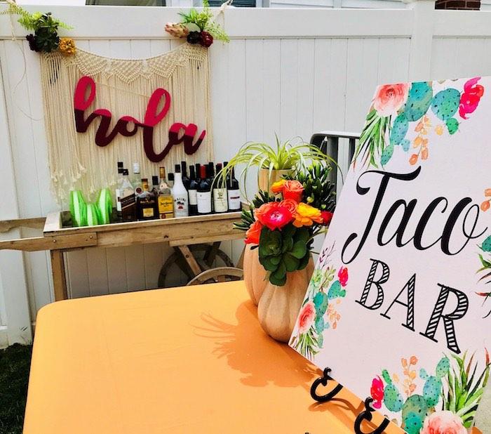 Taco Bar from a Llama Fiesta Birthday Party on Kara's Party Ideas | KarasPartyIdeas.com (13)