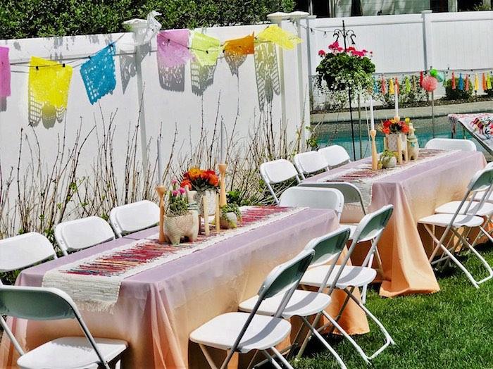Fiesta Guest Tables from a Llama Fiesta Birthday Party on Kara's Party Ideas | KarasPartyIdeas.com (10)