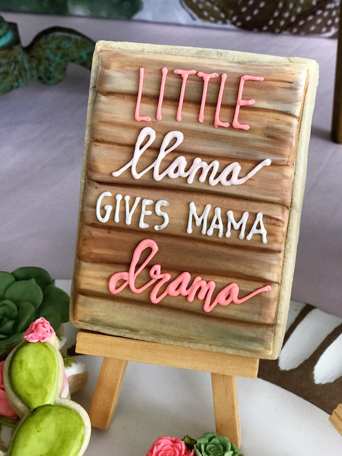 Little Llama Cookie from a Llama Fiesta Birthday Party on Kara's Party Ideas | KarasPartyIdeas.com (28)