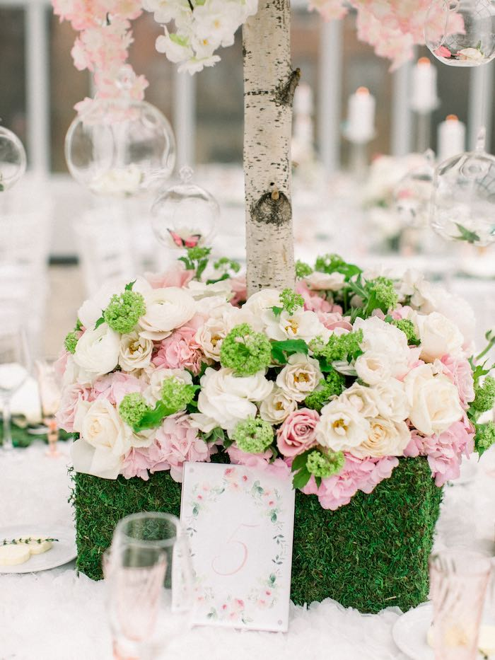 Guest Table Flower Centerpiece from a Luxury Baby Shower on Kara's Party Ideas | KarasPartyIdeas.com (51)
